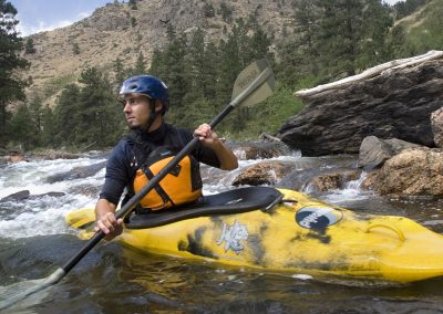 Kayaking in the Cache la Poudre River, Fort Collins.